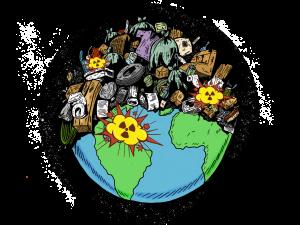 zugemüllte Erde mit mehreren Kriegsherden (Explosionen)